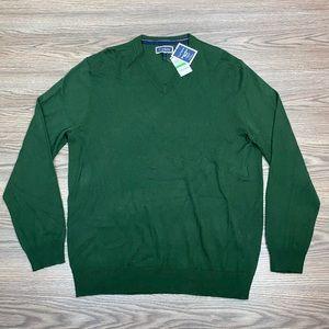 Club Room NWT Green Merino V-Neck Sweater L